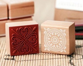 1 piece Lace Stamp - Wooden Rubber Stamp - Diary Stamp - 6 patterns can choose