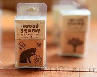 1 Piece Antique Forest Stamp - Wooden Rubber Stamp - Diary Stamp - 6 styles can choose