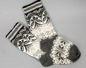socks women wool white grey pattern folklore eco friendly sock foot