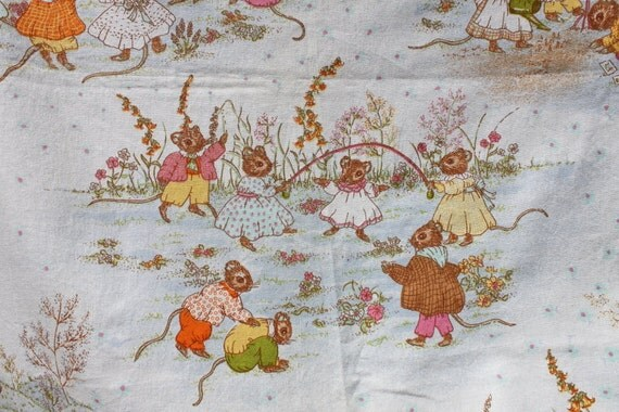 Fabric vintage nursery curtains beatrix potter motif cute mice for Nursery fabric uk