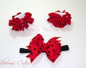 Little Miss LadyBug Bright Red & Black Polka Dot Newborn Infant Toddlers Girls SUPER RUFFLE SOCKS and Bow Set by Bloomin Cuties Boutique