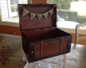 Rustic Wedding Card Box,Burlap Banner, Personalized.