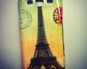 Samsung Galaxy S3 /  S III  / i9300 Vintage Watercolor Paris Eiffel Tower Postcard Case