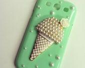 SALE- Samsung Galaxy S III S3 Sweet Mint Ice Cream Cone Decoden Bling case