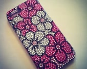 iPhone 5 Art Deco Sparkling Hot Pink & Silver Flowers Bling Rhinestone case