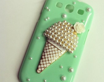 SALE- Samsung Galaxy S III S3 Sweet Mint Ice Cream Cone Decoden Bling case