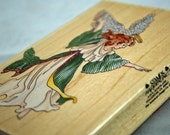 "Rubber Stamp ANGEL Stamps Happen Large Rubber Stamp ""Dancing Angel"" Scrapbooking - Card Making - Collage - Crafts - Stamping"