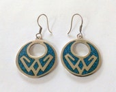 Vintage Sterling and Turquoise Earrings Designer Signed