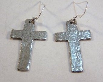 Pewter Hammered Cross Charms on Sterling Silver Dangle Earrings -5149