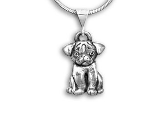 Sterling Silver Pug Puppy Pendant