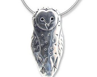 SS Barn Owl Lg  Pendant