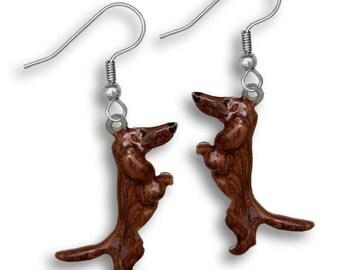 Enamel Red Dachshund Earrings