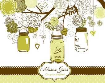 Hand Drawn Mason Jars, card template and digital papers, Clip art for scrapbooking, wedding invitations, Personal and Small Commercial Use