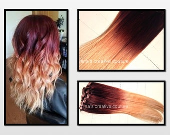 Ombre Hair Extensions, Georgian Sunset Ombre Hair, Violet and Red with a slow fade to Peach and Blonde,(7) Pieces, 18""