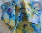 Yellow Abstract Flowers Hand Painted Silk Scarf  11 x 60