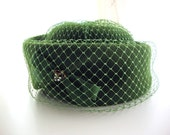 Vintage 1960s Hat - 60s Hat - Green with Envy Hat