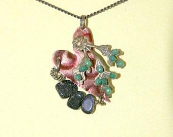 Emerald, Blue Goldstone, Heart Necklace