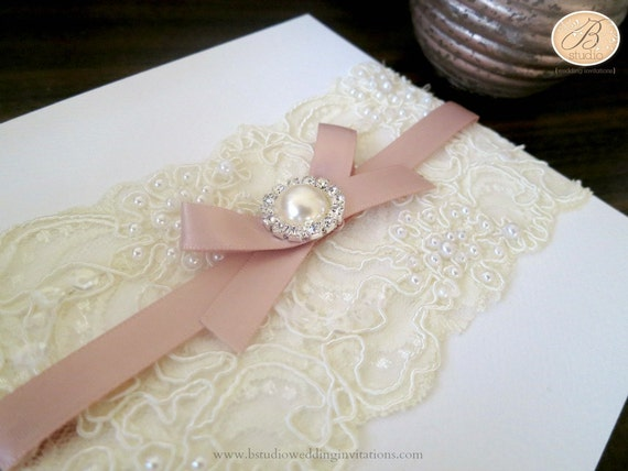 Wedding Invitation Lace: Vintage Lace Wedding Invitation With Envelope