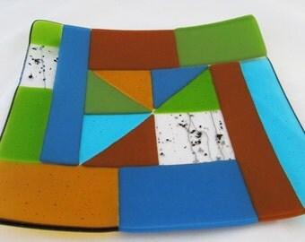 """Fused glass, Geometric design, full-fused & slumped glass dish 8"""" x 8"""", slumped glass, glass art, Home decor, Handmade, platter, plate, G4"""