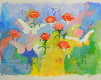 Original Abstract Expressionist Painting with Rose, Butterflies and BibleText