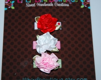 Infant Satin Cabbage Rosettes on Snap Clips/ Baby Snap Clip / Baby Clip / Flower Snap Clip / Non-slip snap clip