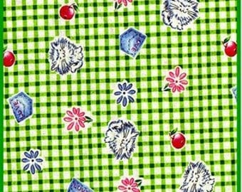 Fabric FQ Gingham Cats on Green Checkered Fabric Sew Cute Out of Print Summer Picnic Fun FQ