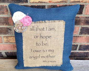 Burlap Blue Mother's Day Pillow