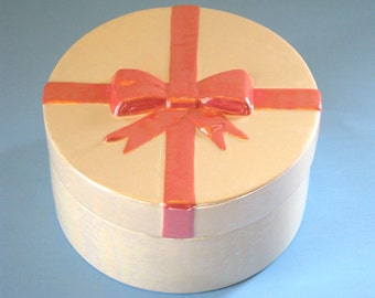 Ceramic Gift Box, mother of pearl finish, pink bow -5.5 inches, mothers day, gift, birthday