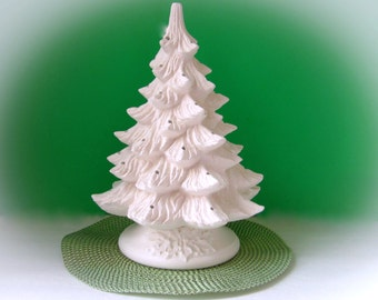 Ceramic Christmas Tree - unpainted bisque, with holly leaf base, medium pine tree -13.5 inches with base