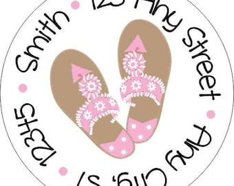 Preppy Palm Beach Sandals Pink Round Labels Stickers for Party Favors, Gift Tags, Address Labels