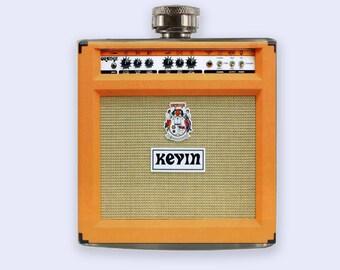 Orange Amp Flask, Personalized Custom Flask, Orange Amp