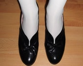 Rare Dead Stock Vintage 40s 50s Black Leather Victorian Bow Detailed Swing Jive Shoes New UK 6/ USA 8/ EU 39