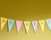 Happy Birthday Banner - Custom Personalized Bunting (Sign, Flags, Pennants) pastel and neon colors with chevron - Party Decoration