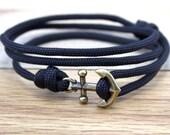 Nautical Bracelet - Mens Anchor Bracelet - Anchor Bracelet - Anchor - Nautical Bracelets - Summer Fashion - Black Paracord