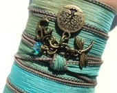 Tree of Life Silk Wrap Bracelet, Yoga Jewelry, Dragonfly, Om, Namaste, Bohemiann, Earthy, Unique Mothers Day Gift, For Her, Gift For Wife