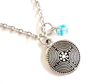Labyrinth Charm Necklace Life Yoga Jewelry Unique Gift For Her or Him Birthday Valentines Mothers Day Under 20 Item T81