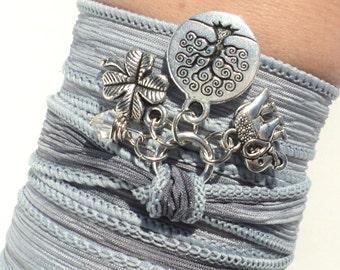 Tree of Life Silk Wrap Bracelet Yoga Jewelry Sacred Elephant Bat Mitzvah Upper Arm Band Ganesha Earthy Unique Gift For Her Under 50 Item Y36