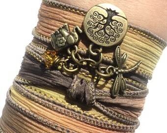 Bohemian Silk Wrap Bracelet Yoga Jewelry Tree of Life Om Buddha Upper Arm Band Ganesha Earthy Unique Gift For Her Under 50 Item Y152