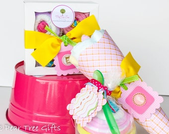 New Baby Shower Gift Set w/ Diaper Bouquet, Onesie Cupcakes & Blanket Sundae