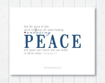 Enduring Peace Scripture Print with Philippians 4:7