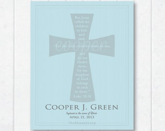 For Him . Baptism-Dedication-Christening Scripture Print . Personalized with Luke 18:16