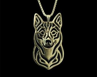 Swedish Vallhund jewelry - Gold pendant and necklace.