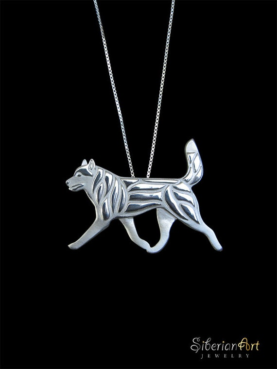 Siberian Husky movement with carried up tail - sterling silver pendant ...