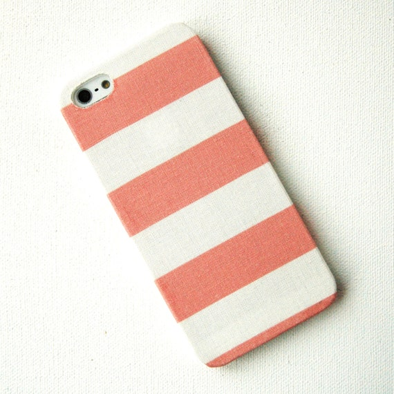 Wide Coral Pink Stripe Fabric iPhone 5 Case