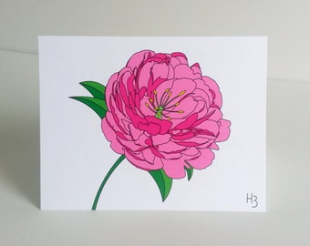 Floral Note Card Pink Peony Garden Flower Greeting Card with Envelope Floral Print Stationery for Gardener or Florist Flower Sympathy Card