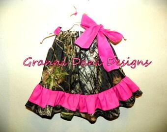 Mossy Oak double ruffle  hot pink baby girl 0 3 6 9 12 18 months 2t 3t 4t 5t pillowcase dress camo