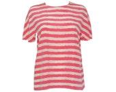 AKRIS Vintage Luxury Shirt Top Blouse Pink Striped Silk Size US 8 SMALL