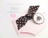 100 Handmade Shower Invitations, Diaper Cards, Baby Shower, Pink and Brown, Baby Feet, Elephant, Customize Your Colors