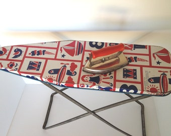 Childs Toy Ironing Board and Iron Red White Blue USA Wolverine Toy Gift Vintage