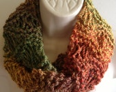 Ooak unique womens Christmas gift hand knit/crocheted autum,winter cowl,scarf,infinity neckwarmerk